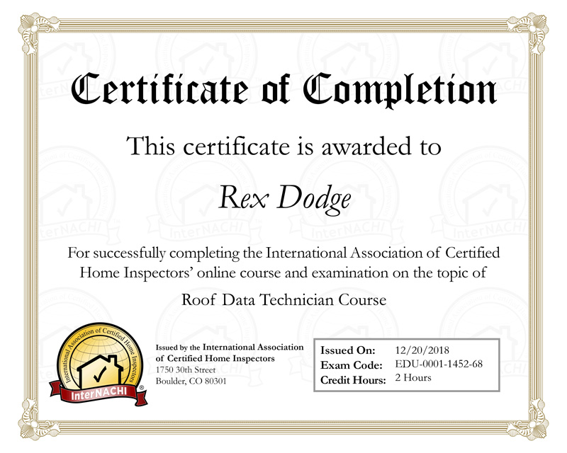 internachi certificate